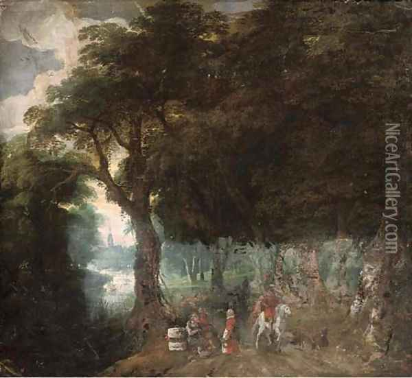 A wooded landscape with figures on a track, a church beyond Oil Painting - Jan Brueghel the Younger
