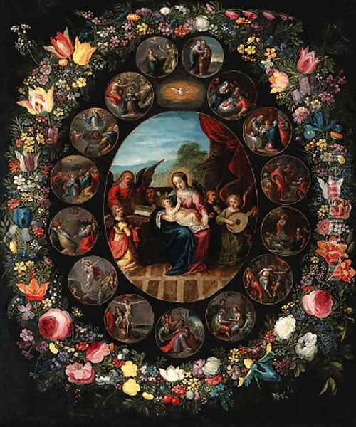A garland of flowers surrounding a series ofroundels depicting the lives of the Virgin and of Christ Oil Painting - Jan Brueghel the Younger