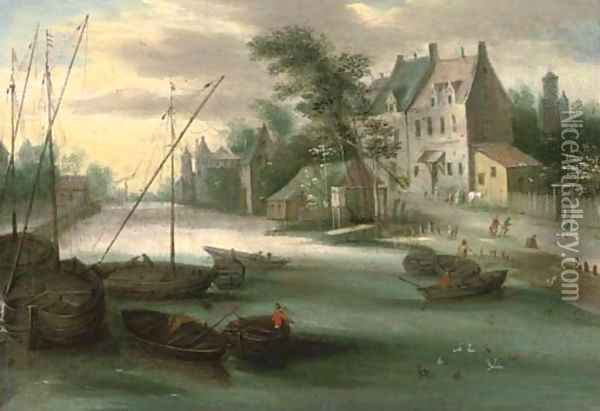 A riverside town with boats in the foreground Oil Painting - Jan Brueghel the Younger