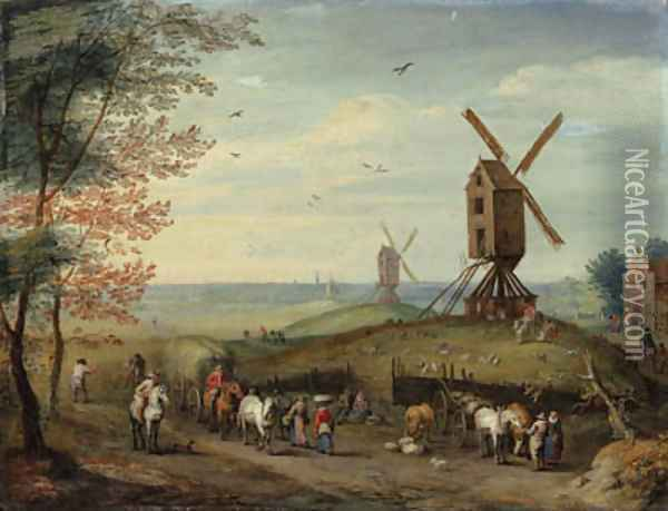 An autumn landscape with windmills and peasants harvesting Oil Painting - Jan Brueghel the Younger