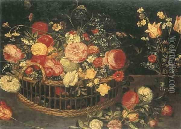 Roses, carnations and other flowers in a basket Oil Painting - Jan Brueghel the Younger