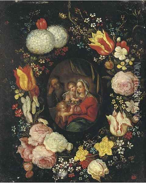The Holy Family with the Infant Saint John the Baptist in a floral cartouche Oil Painting - Jan Brueghel the Younger