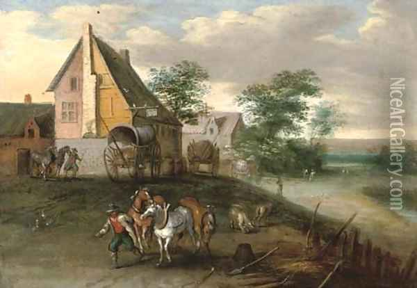 A landscape with farm labourers, their horses and wagons, buildings beyond Oil Painting - Jan Brueghel the Younger