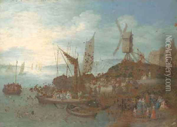 A river landscape with villagers and boats at a landing stage by a windmill Oil Painting - Jan Brueghel the Younger