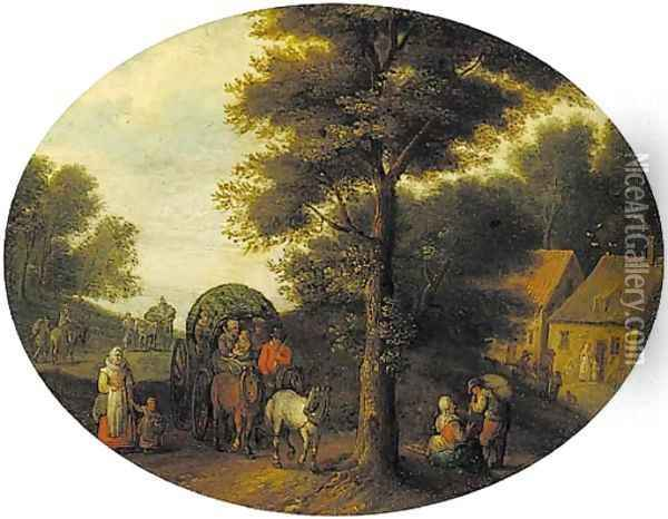 A wooded landscape with travellers in a wagon by a hamlet Oil Painting - Jan Brueghel the Younger