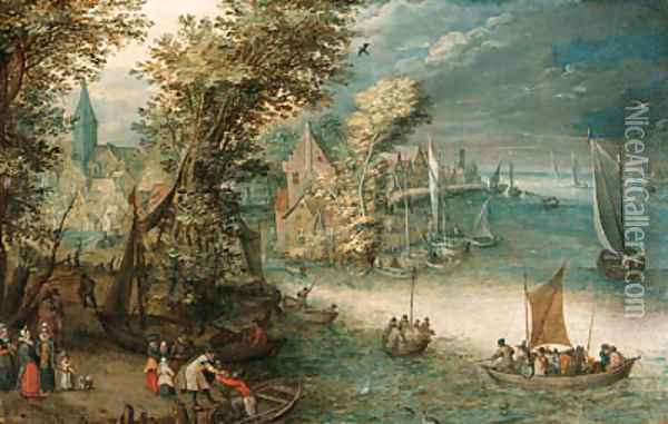 A wooded river landscape with travellers at a landing stage near a town, kaags, rowing boats and a ferry on the river Oil Painting - Jan Brueghel the Younger