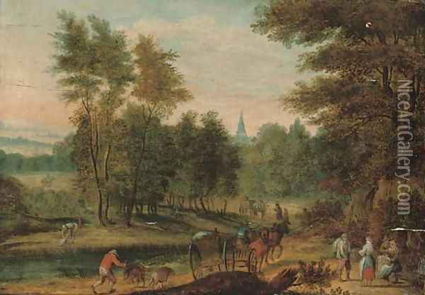 A wooded river landscape with travellers on a track, a church beyond Oil Painting - Jan Brueghel the Younger