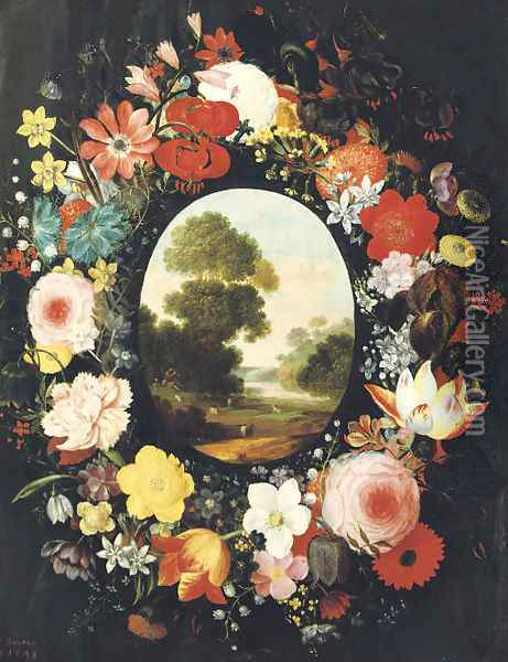 A wreath of roses, tulips, jasmine and other flowers surrounding an oval depicting a landscape Oil Painting - Jan Brueghel the Younger