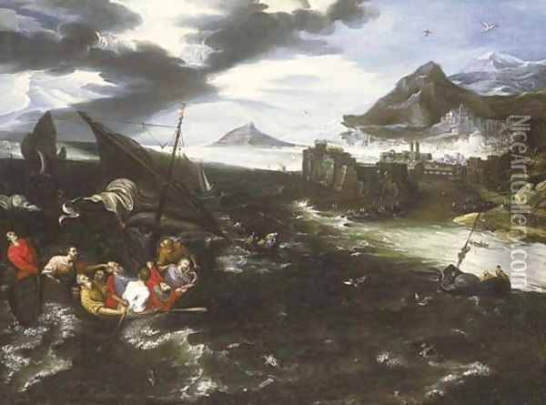 Christ in the storm on the Sea of Galilee Oil Painting - Jan Brueghel the Younger
