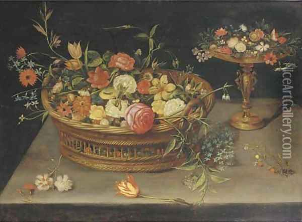 Roses, peonies, tulips, narcissi, carnations, poppies and other flowers in a basket and a gilt tazza, on a table Oil Painting - Jan Brueghel the Younger