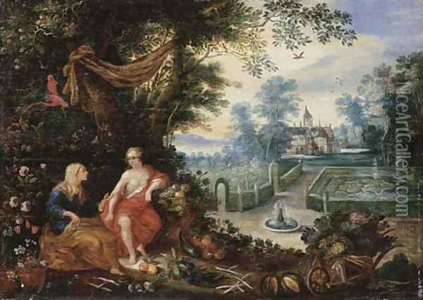 Vertumnus and Pomona Oil Painting - Jan Brueghel the Younger