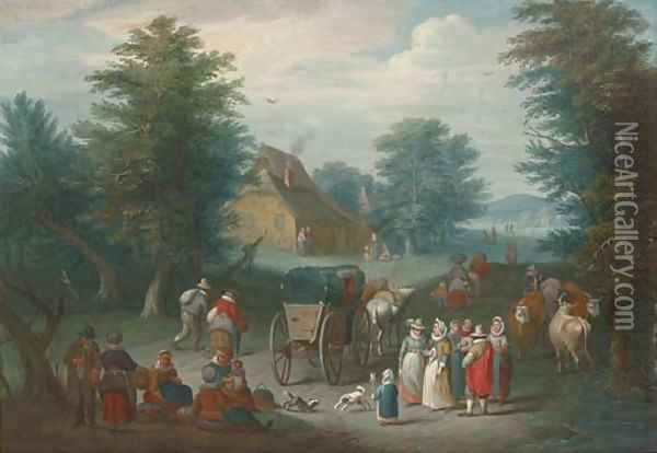 A wooded landscape with villagers by a market Oil Painting - Jan Brueghel the Younger