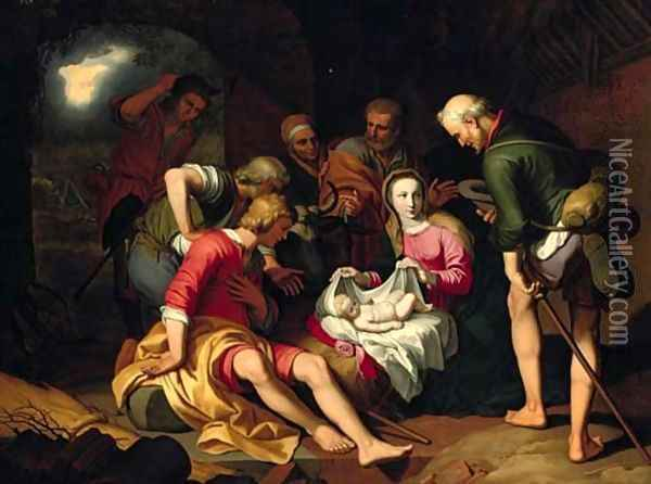 The Adoration of the Shepherds with the Annunciation to the Shepherds beyond Oil Painting - Abraham Bloemaert
