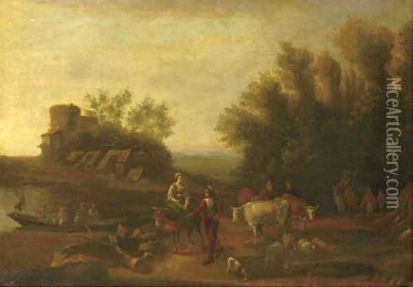 An Italianate landscape with travellers and their flocks on a path Oil Painting - Nicolaes Berchem
