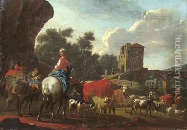 Cowherds with cattle, sheep and goats crossing a river by a bridge in an Italianate landscape Oil Painting - Nicolaes Berchem