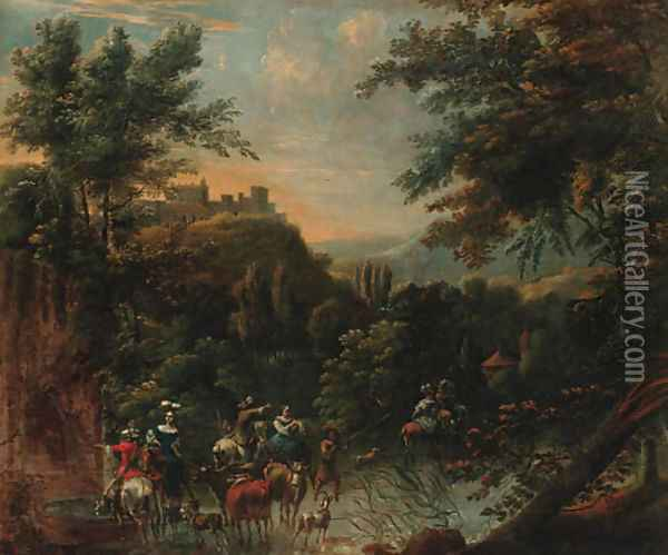 An extensive landscape with a hunting party and drovers watering cattle at a stream, a hilltop village beyond Oil Painting - Nicolaes Berchem