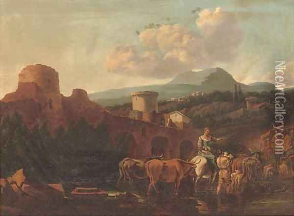 A landscape with drovers and their cattle fording a river Oil Painting - Nicolaes Berchem