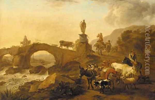 A mountainous landscape with drovers and their cattle crossing a bridge Oil Painting - Nicolaes Berchem