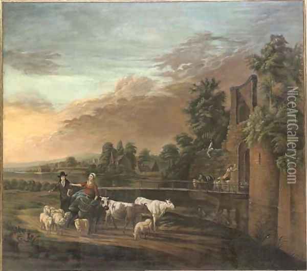 A river landscape with a shepherd and shepherdess on a track with their flock and cattle Oil Painting - Nicolaes Berchem