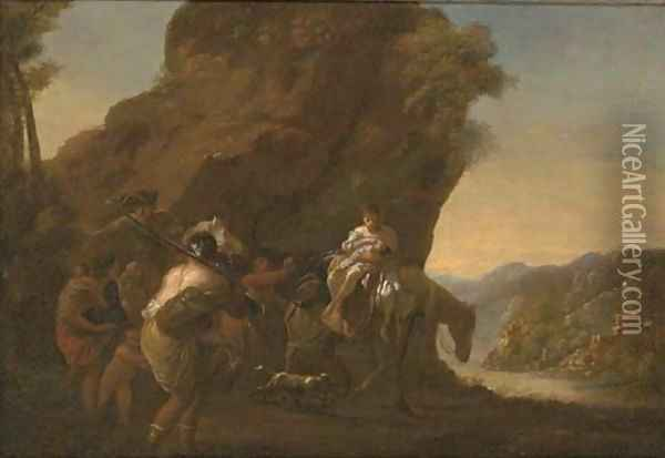 A rocky river landscape with travellers in the foreground Oil Painting - Nicolaes Berchem