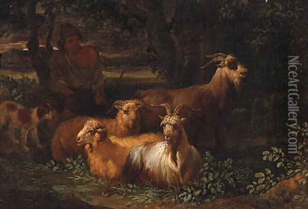 A Shepherd with Livestock in a wooded Landscape Oil Painting - Nicolaes Berchem