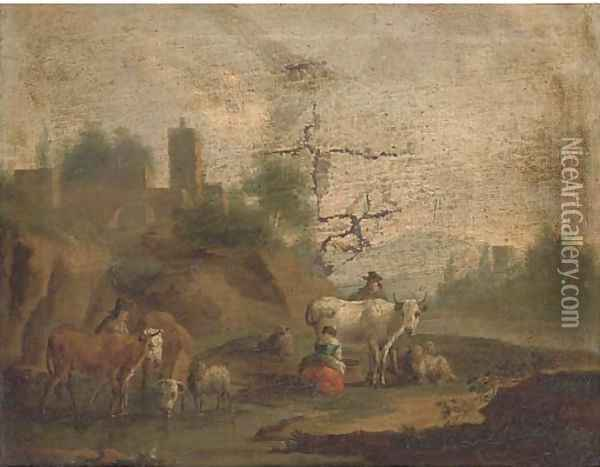 A landscape with a milkmaid, cattle and other figures by a river Oil Painting - Nicolaes Berchem