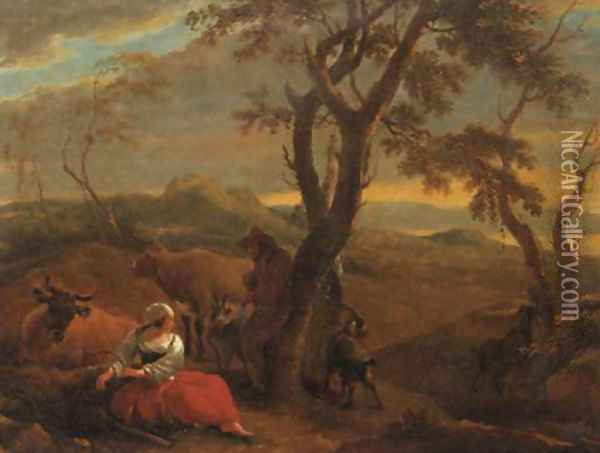 A peasantwoman resting at the foot of a tree in an Italianate landscape, at sunset Oil Painting - Nicolaes Berchem