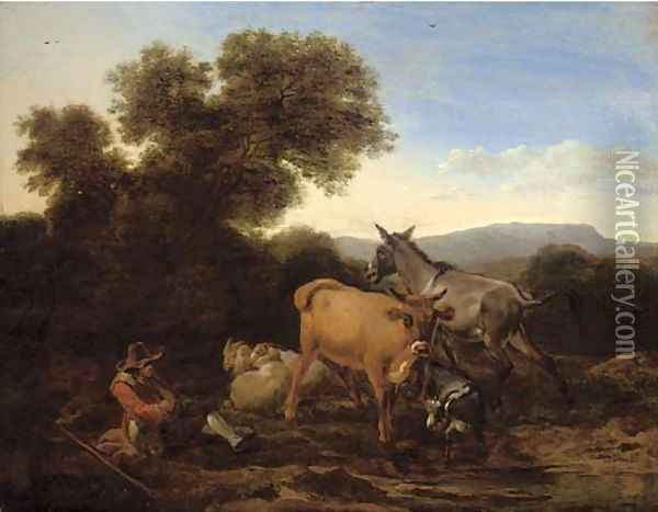 A wooded landscape with a shepherd and his flock resting Oil Painting - Nicolaes Berchem