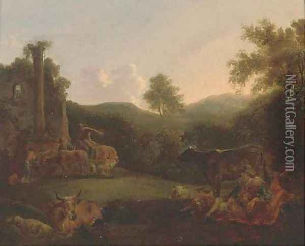 A wooded landscape with a shepherd resting with his flock and drovers and their cattle by classical ruins Oil Painting - Nicolaes Berchem