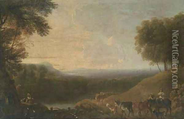 A wooded river landscape with a drover and cattle on a track Oil Painting - Nicolaes Berchem