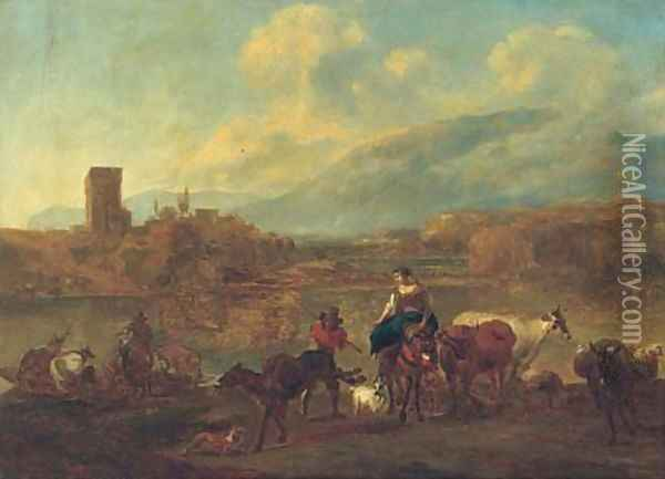 An Italianate landscape with cattle, drovers and travellers crossing a ford, a village beyond Oil Painting - Nicolaes Berchem