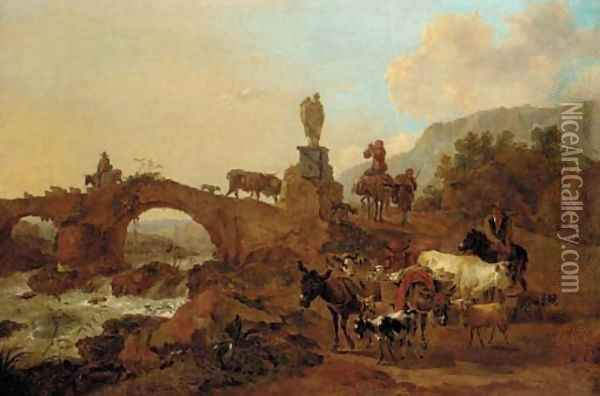 An Italianate landscape with drovers and their cattle crossing a bridge Oil Painting - Nicolaes Berchem