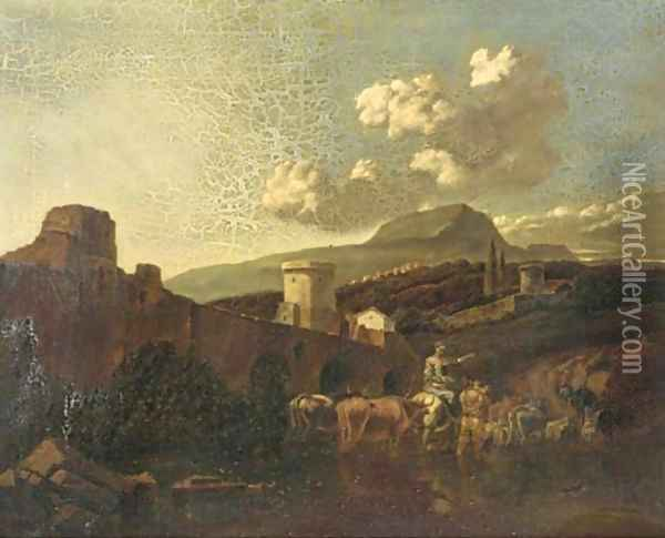 An Italianate landscape with drovers and their cattle fording a river Oil Painting - Nicolaes Berchem