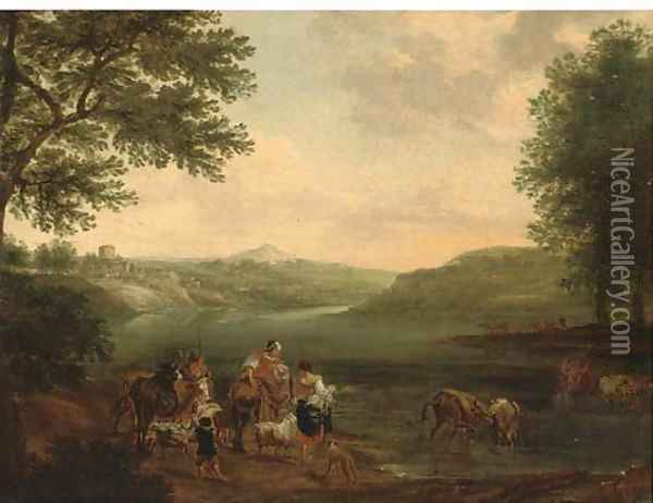 An Italianate landscape with peasants and their cattle fording a river Oil Painting - Nicolaes Berchem