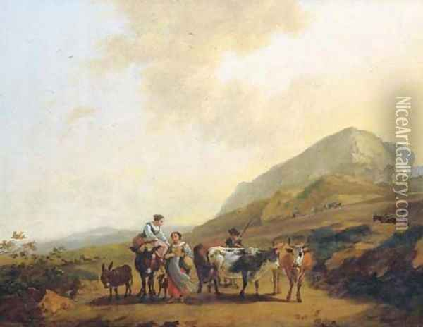 An Italianate landscape with two women and a shepherd and his cattle Oil Painting - Nicolaes Berchem