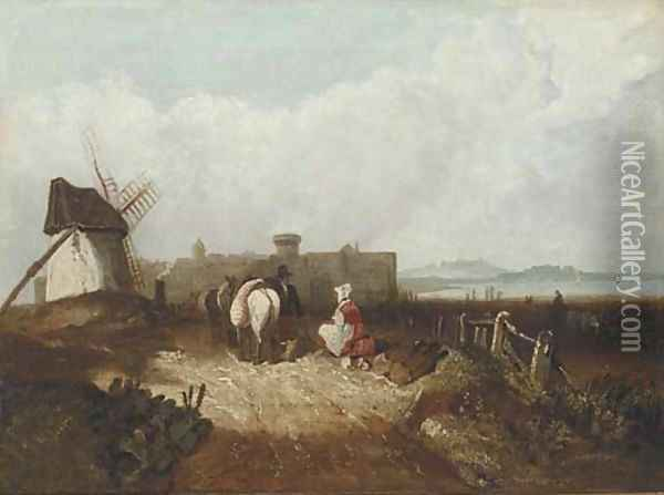 Figures resting by a windmill, a fortified town beyond Oil Painting - Richard Parkes Bonington
