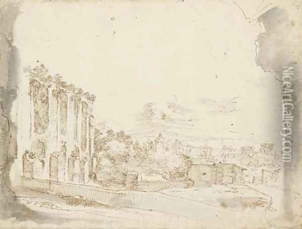 A view of the Roman Forum seen through an arch Oil Painting - Stefano della Bella