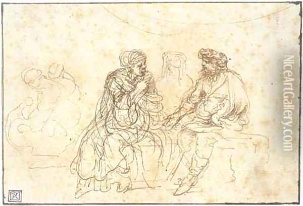 Three figures seated on a bench Oil Painting - Stefano della Bella