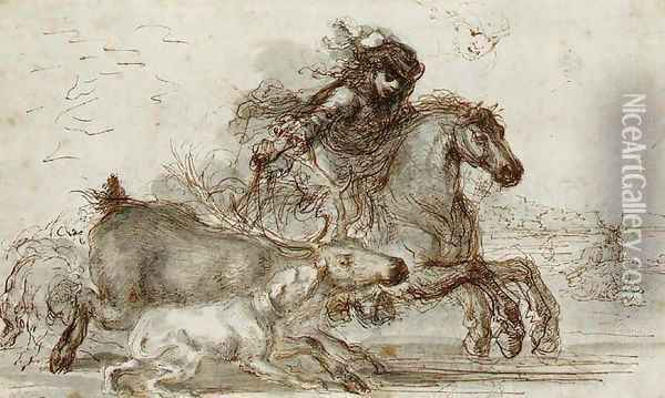 A huntsman and two hounds overtaking a stag Oil Painting - Stefano della Bella