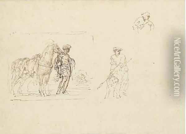 A moor holding a horse saddled with a leopard skin and studies of a figure holding a dog and another figure Oil Painting - Stefano della Bella