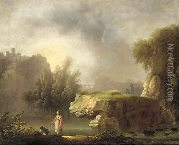 A rocky river landscape with classical figures in the foreground Oil Painting - Carlo Bonavia