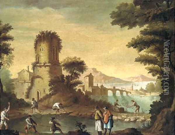 An Italianate landscape with fishermen before a town Oil Painting - Carlo Bonavia