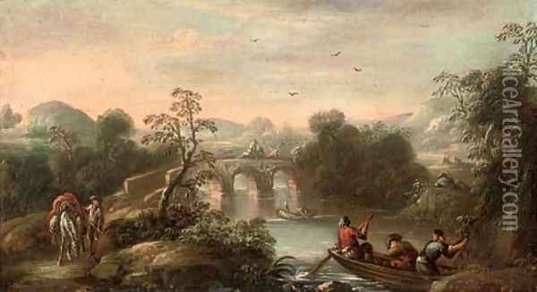 An Italianate wooded river landscape with fishermen in a boat and figures on a bridge beyond Oil Painting - Carlo Bonavia