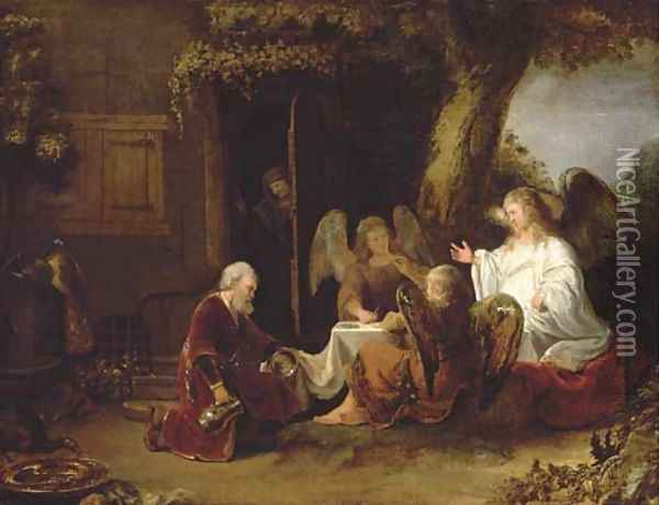 Abraham and the Three Angels Oil Painting - Ferdinand Bol