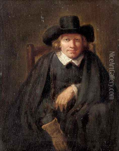 Portrait of a gentleman, seated, half-length, wearing a glove on his right hand Oil Painting - Ferdinand Bol