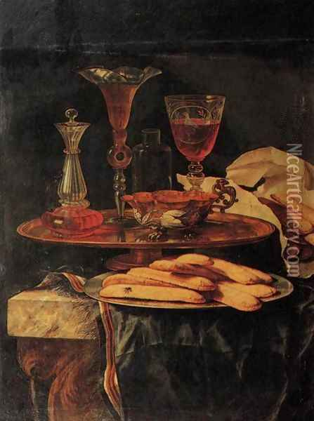 Still-Life with Crystal Glasses and Sponge-Cakes Oil Painting - Christian Berentz