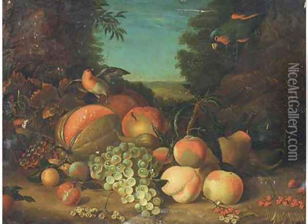 Still life of grapes, peaches, plums, berries and a melon Oil Painting - William Jones Of Bath