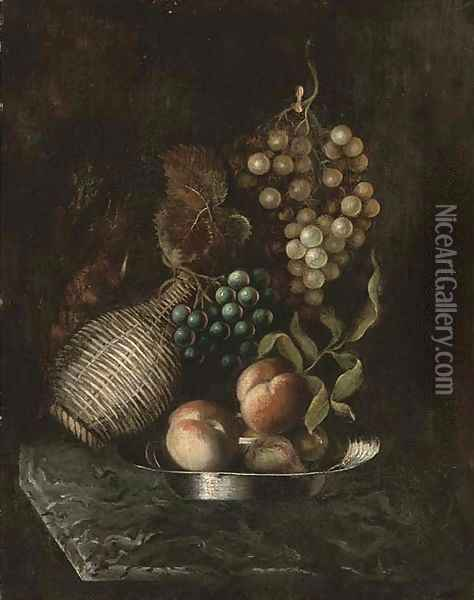 Grapes, a bottle, and peaches on a platter, on a marble ledge Oil Painting - William Jones Of Bath