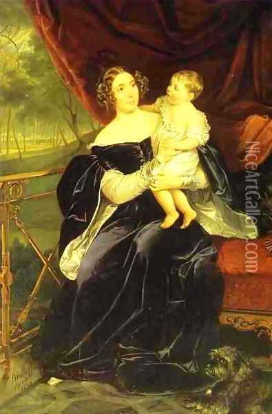 Portrait of Countess O.I. Orlov-Davidov with her Daughter Oil Painting - Karl Pavlovich Bryullov