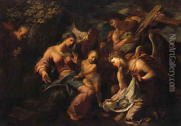Angels showing the Instruments of the Passion to the Infant Christ and the Holy Family Oil Painting - Antonio Balestra